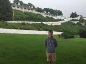 Standing in front of Fort Mackinac
